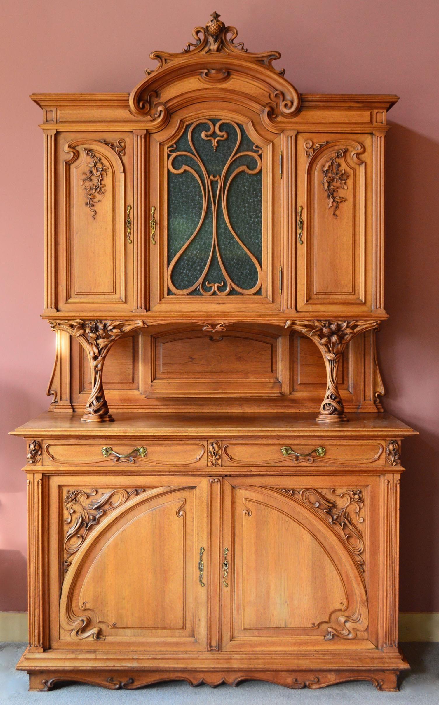 1878 1910 French Art Nouveau Hand Carved Breakfront Server Sideboard In 2020 Art Nouveau Furniture Art Nouveau Breakfront