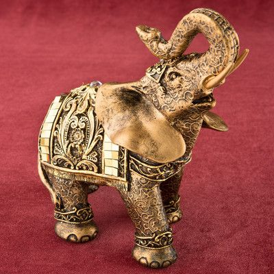 FashionCraft Elephant with Mirror Design and Clear Stone Figurine