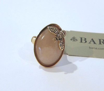 Barse Shiny Peach Aventurine Stone Bumblebee Statement Ring Bronze Size 6 - NEW!
