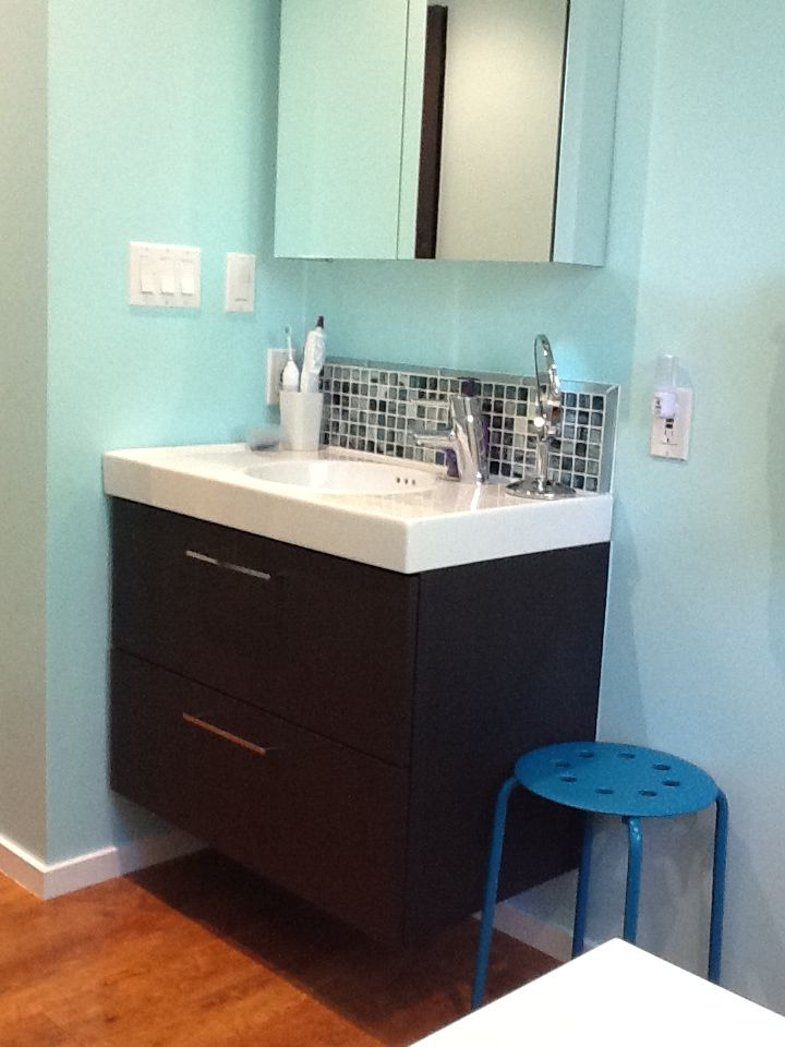 This floating sink replaced a long, ugly vanity cabinet and single ...