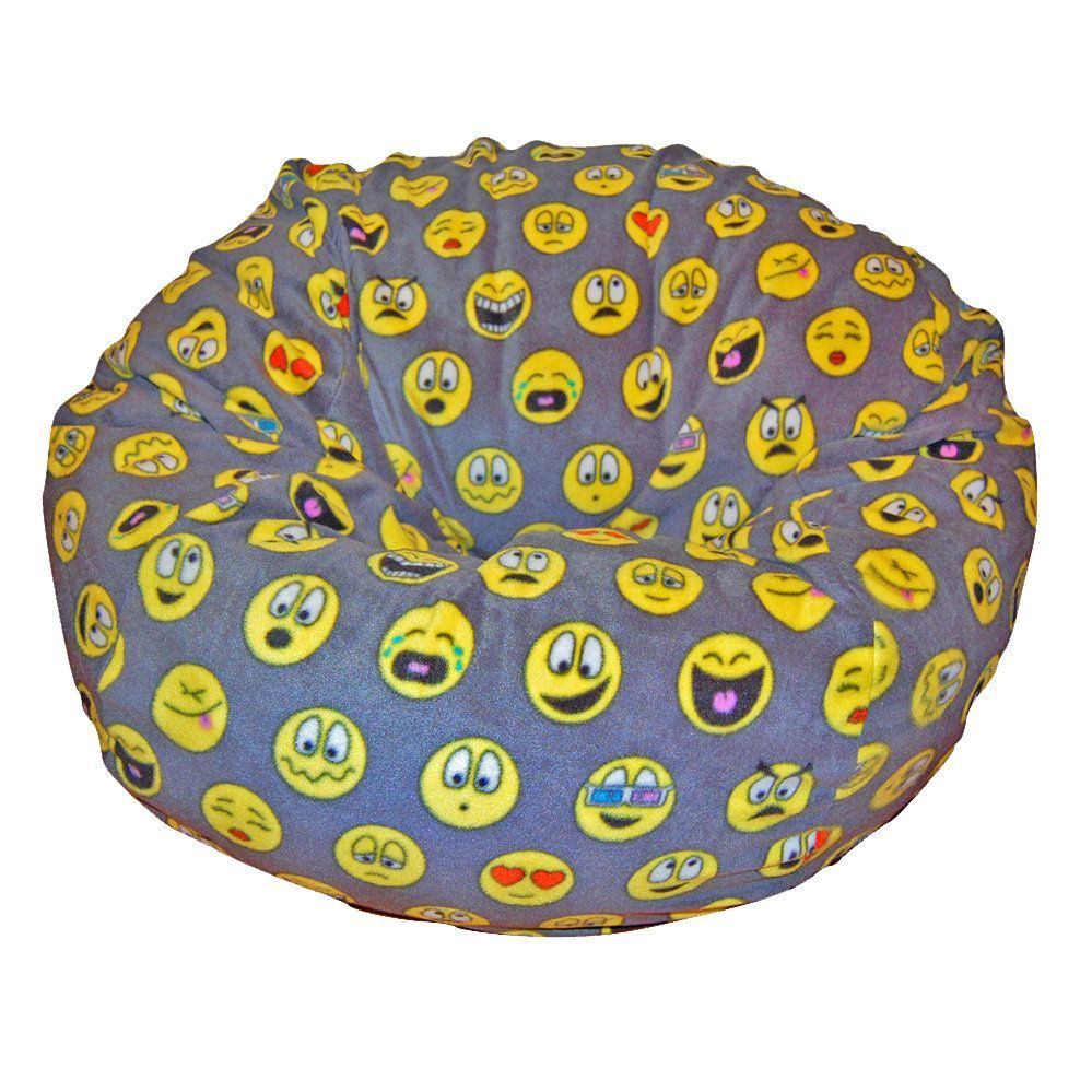 Ahh Products Emojis Black Grey Yellow Anti Pill Fleece Washable Bean Bag Chair