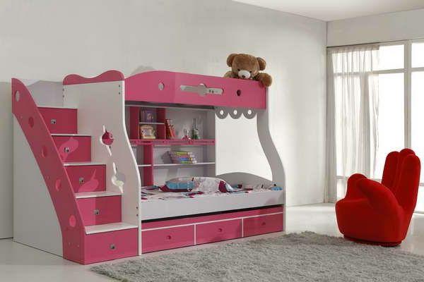 Mädchen Modell Vom Hochbett In Pink Und Weiß
