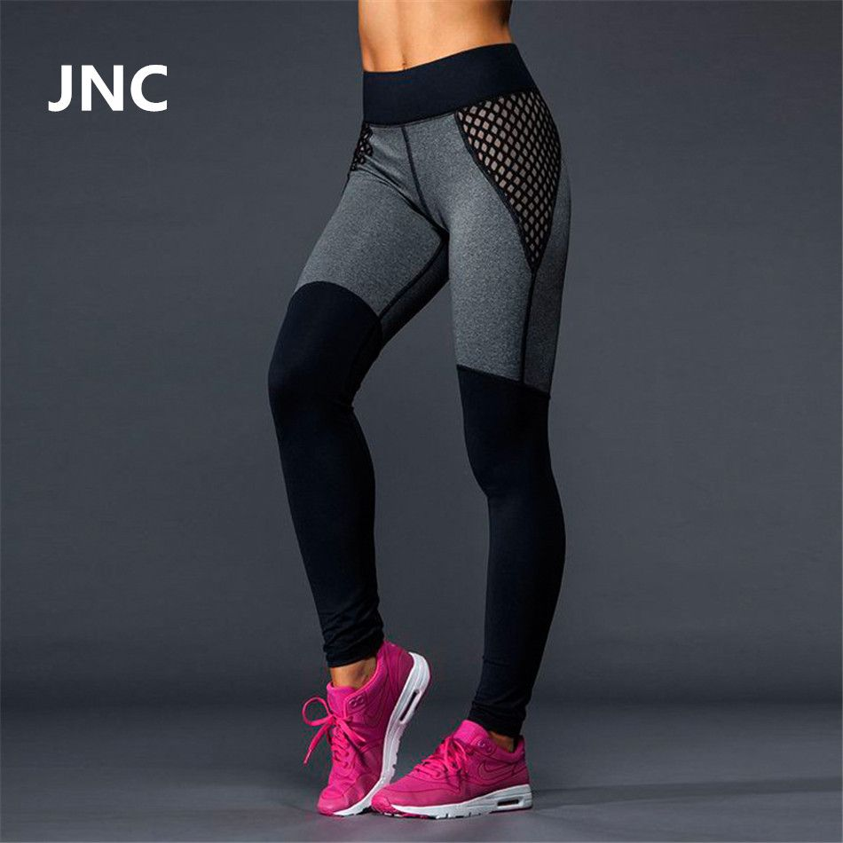 Cute-Black-Leggings-Mesh-Yoga-Pants-Women-High-Elastic-Grey-Sport ...