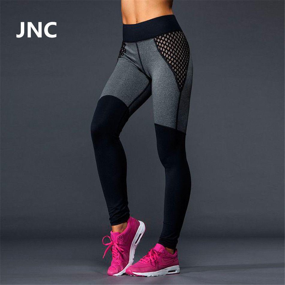 7187117a996 Lindo negro leggings de malla pantalones de yoga las mujeres de alta  elástico gris deporte leggings cintura alta medias de funcionamiento de  secado rápido ...
