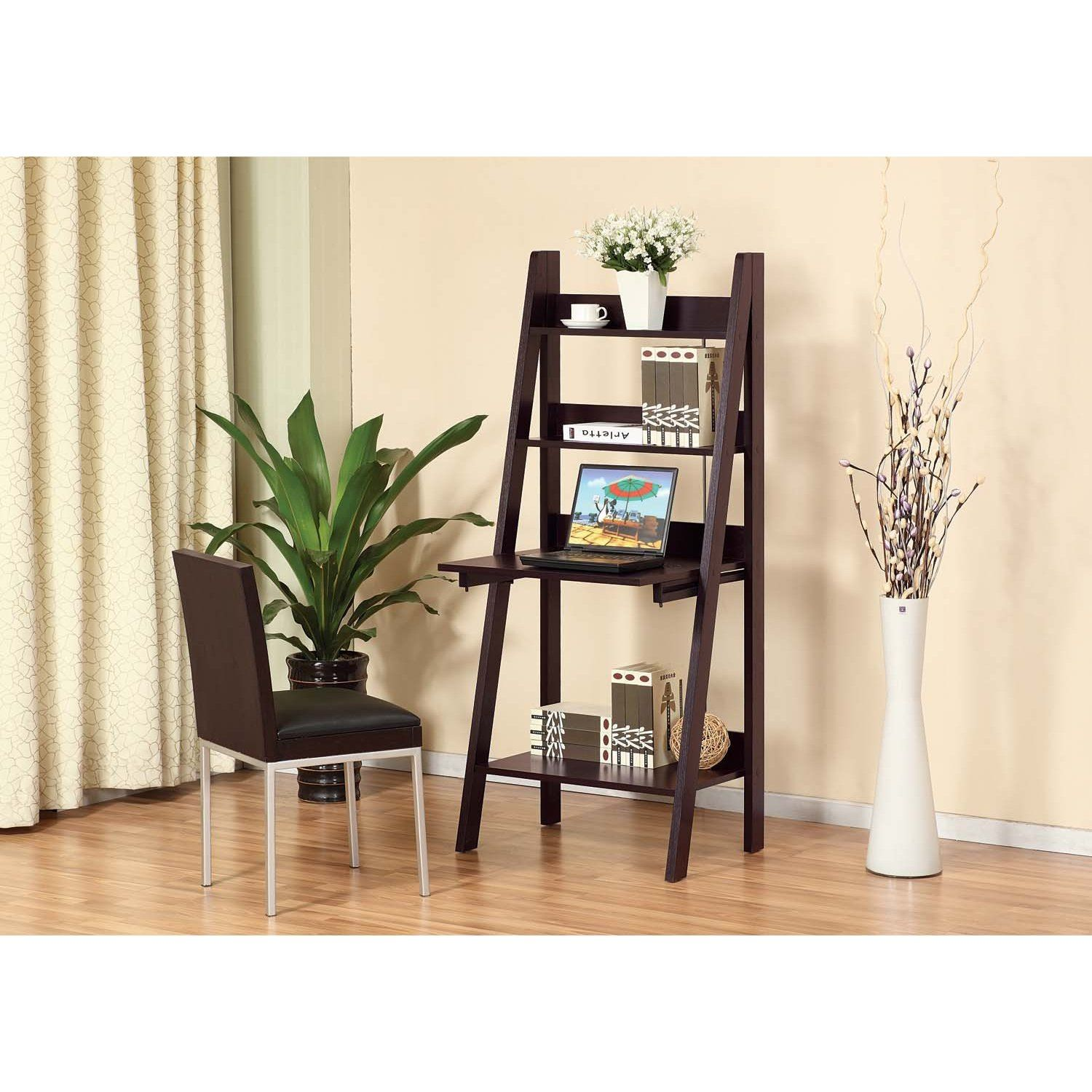 Nikki ladder style writing desk display shelf feature a flip