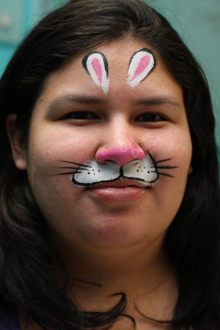 A Bunny Mask Model Is My Friend Leslie Face Painting Face Painting Easy Bunny Face Paint