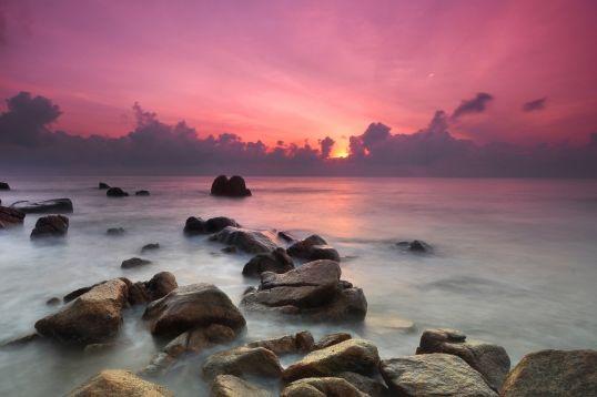 Purple Wallpaper Mural Purple Sunset Beach Wallpaper