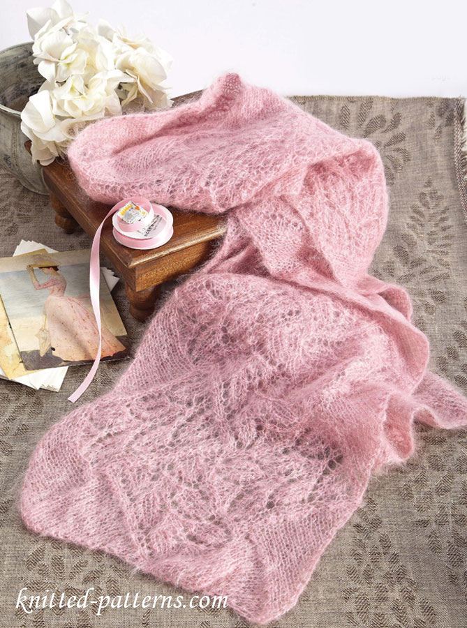 Photo of Leafy lace mohair scarf