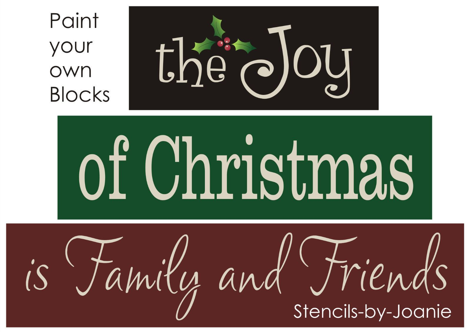 Block STENCIL Joy Christmas Family Friends Holly Mistletoe Country Prim signs picclick.com