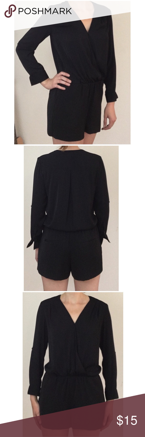 Nordstrom Black Long Sleeve Romper Trouvè black long sleeve romper WITH POCKETS! Originally from Nordstrom. Very comfortable and soft material. Sleeves can be rolled up with button to hold them. V neck with small button to close top. 100% polyester Trouve Other