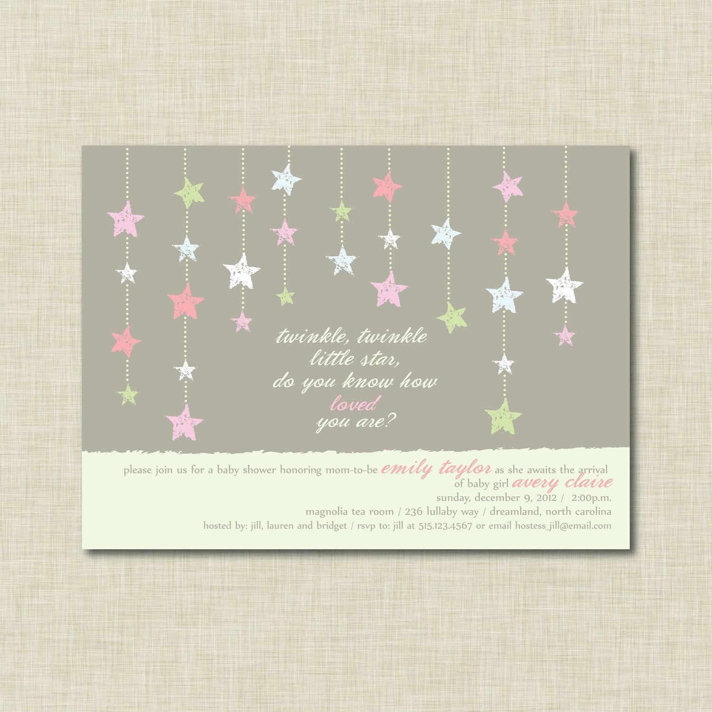 Twinkle Twinkle Little Star Baby Shower Invitation Blue Star Baby