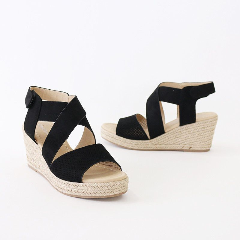 1e868fbbcc25 X Band Ankle Strap Perforated Faux Suede Espadrille Wedge Platform Sandal  Black  Trendyoak  Espadrilles  Casual