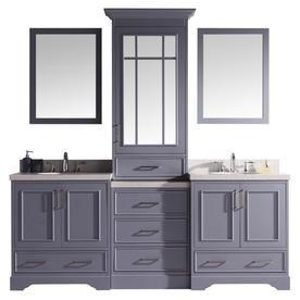 Ariel Stafford 85 In Grey Double Sink Bathroom Vanity With White