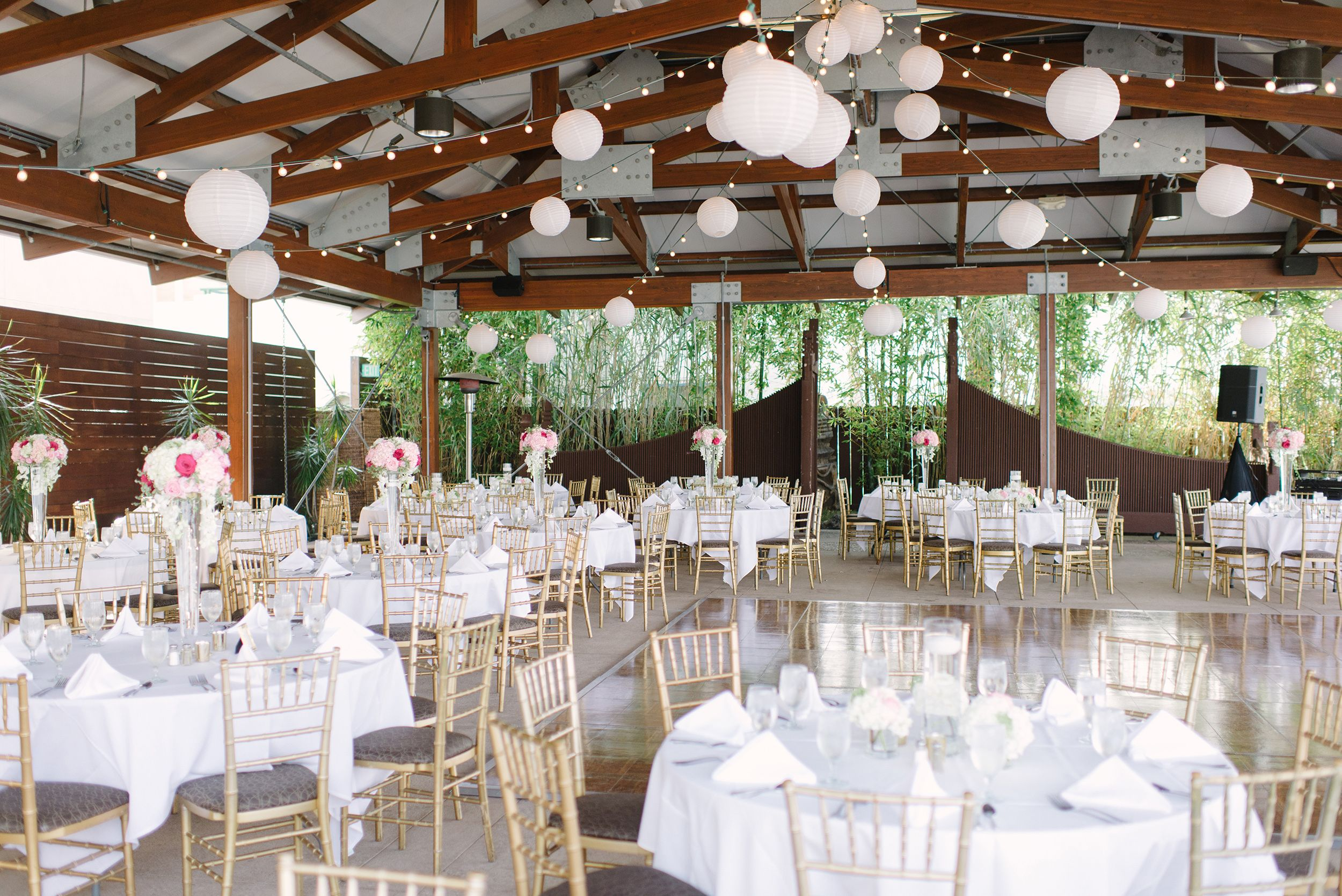 pink, white, gold decor | gold chiavari chairs | lanterns | bali
