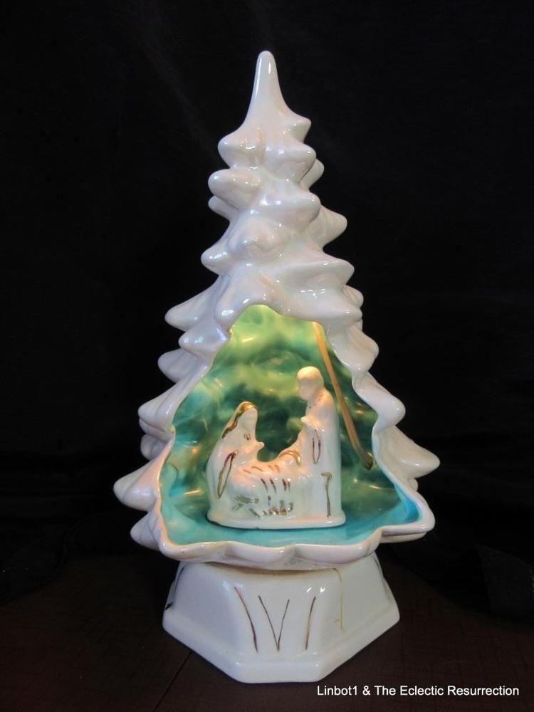 Vtg Ceramic Light Up White Christmas Tree Nativity Scene Inside 11