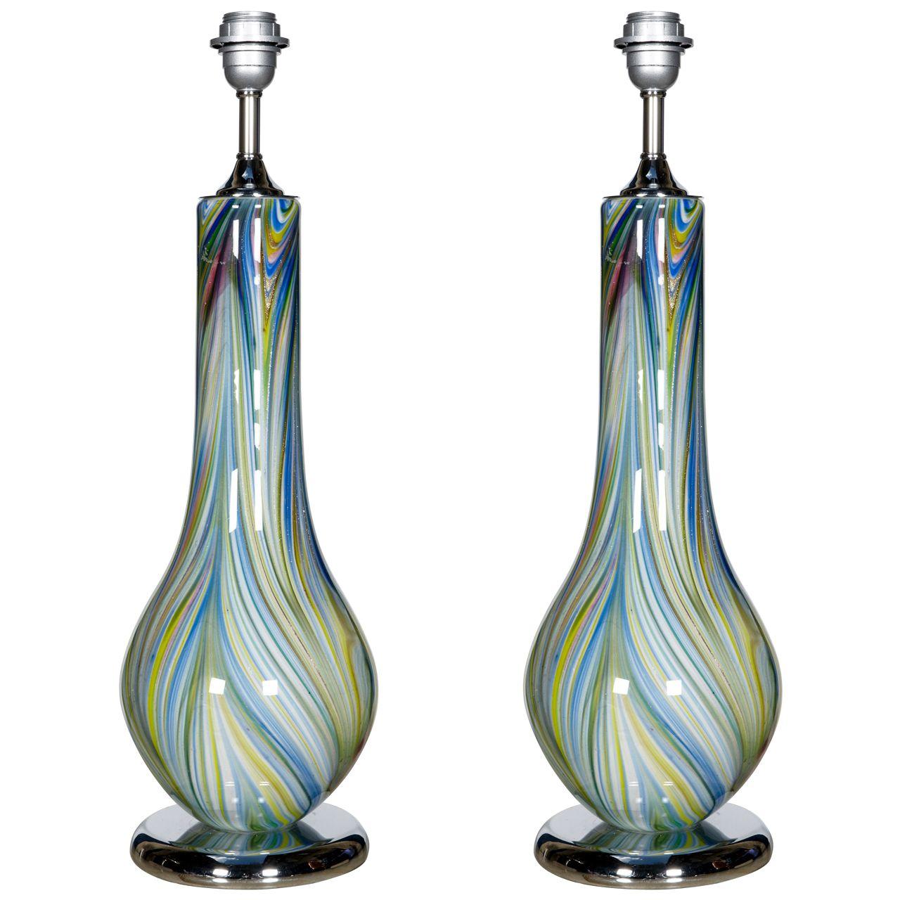 1stdibs.com | Pair Of 1980's Murano Glass Lamps