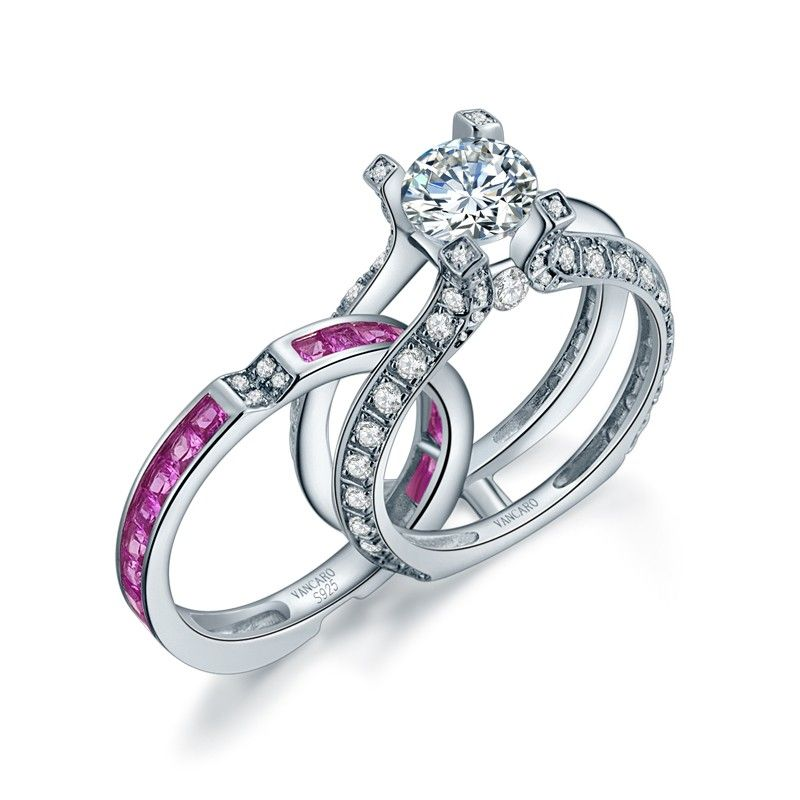 Pink Cubic Zirconia Ring Sterling Silver Wedding Ring Set in La Cathedrale Style