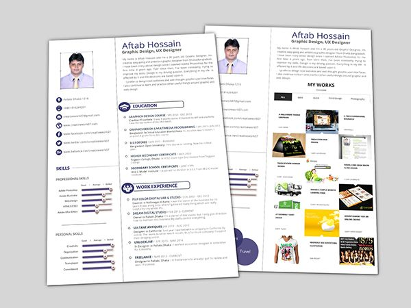 Free 2 page Resume Template on Behance GD Pinterest Template