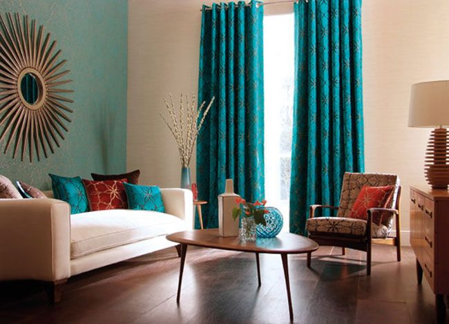 I love the lift that the aqua gives the mid century furniture, and - cortinas para ventanas grandes