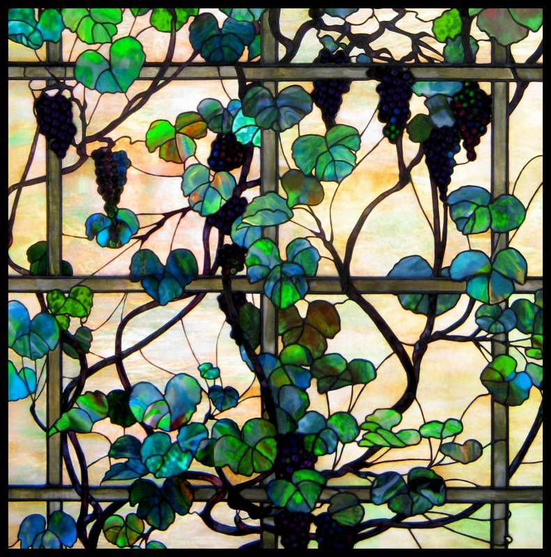 Tiffany Gl Inspired Stained Panel Of A Lush Grapevine Crafted For