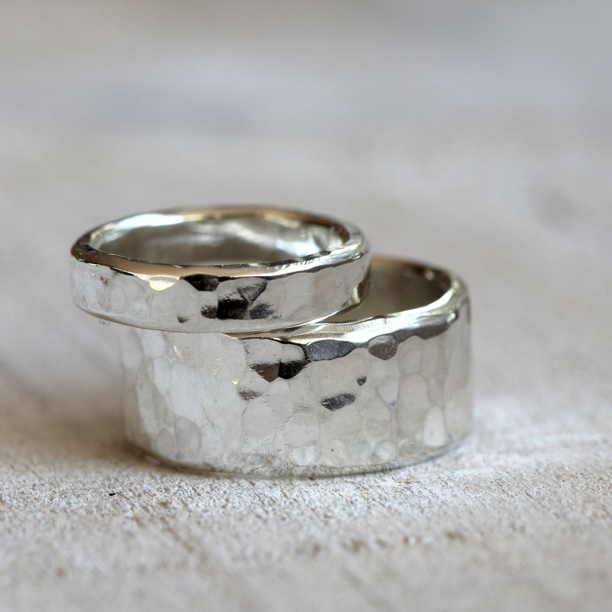 Sterling silver hammered rings wedding ring set