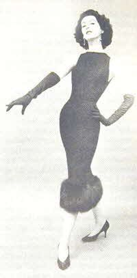 Fur-trimmed sheath of black crepe designed by Luis Estevez. From the fall-and-winter Grenelle-Estevez collection, the dress featured a high neckline, bare shoulders and back. http://www.paperpast.com/html/1957_fashion.html
