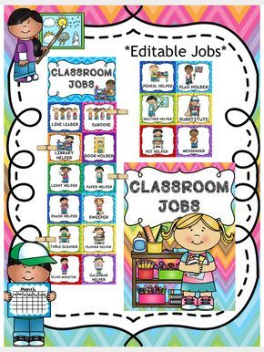 Classroom jobs chart editable file included also back to school september pinterest rh
