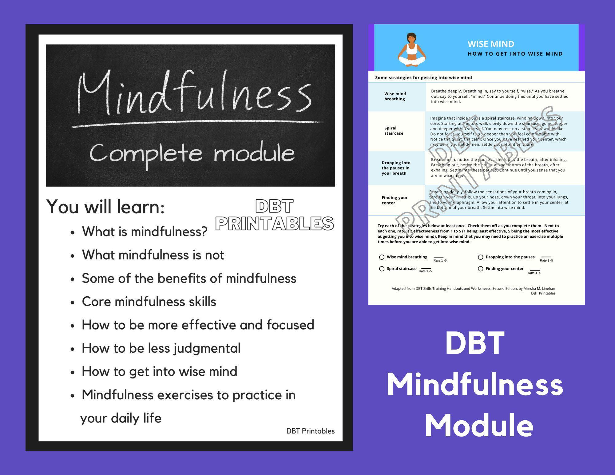 Dbt Complete Mindfulness Module Etsy Dbt Dbt Skills What Is Mindfulness