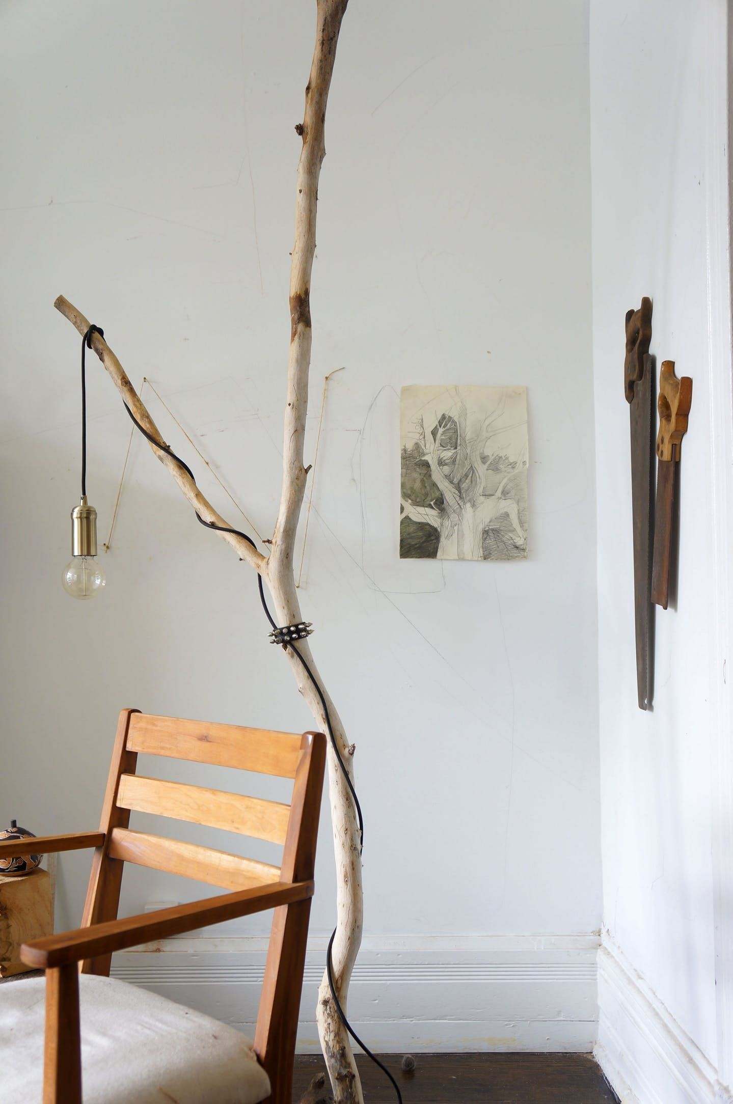 One Of A Kind Style A Diy Tree Branch Floor Lamp Diy Floor Lamp