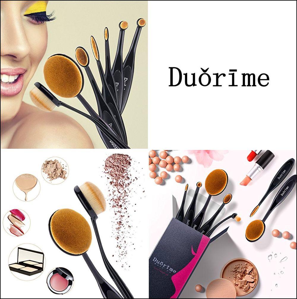 7pcs Black Oval Toothbrush Makeup Brush Set Cream Contour
