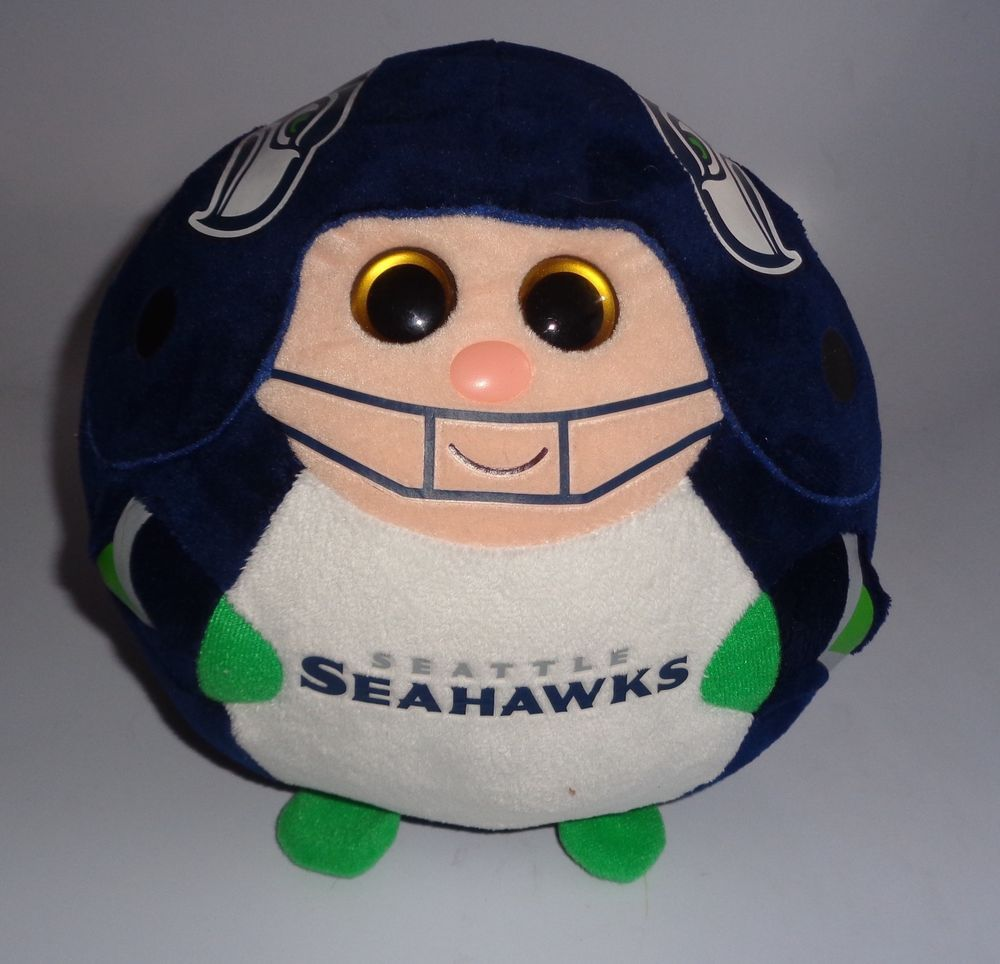 Ty NFL Seattle Seahawks Football Beanie Ballz Babies Balls Stuffed Plush Toy #TY