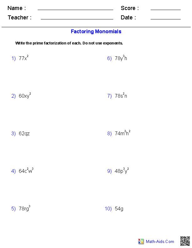 Factoring Monomials Worksheets MathAidsCom – Factoring Worksheet Algebra 2
