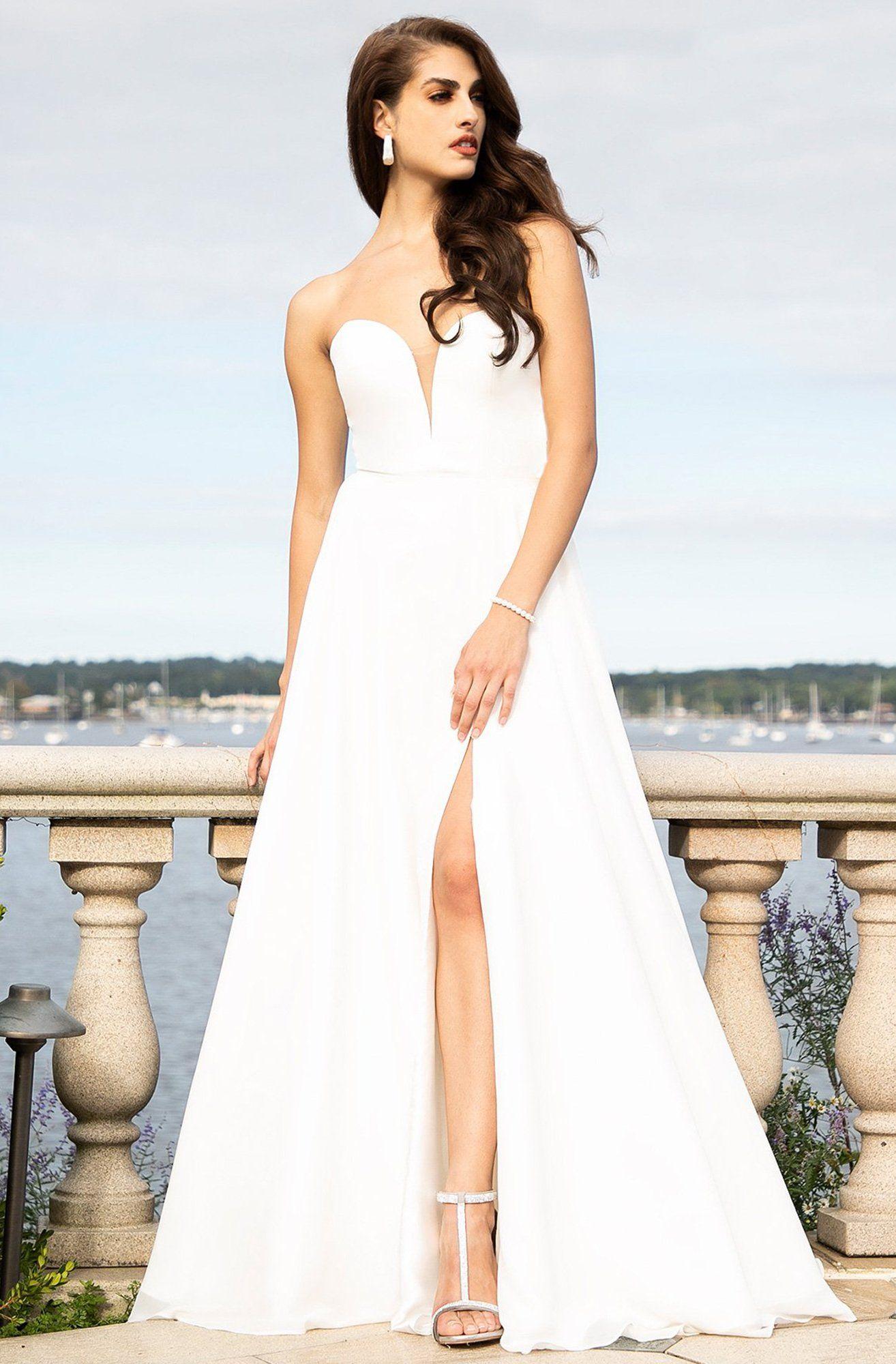 Faviana S10232e Deep Sweetheart Chiffon A Line Dress In 2020