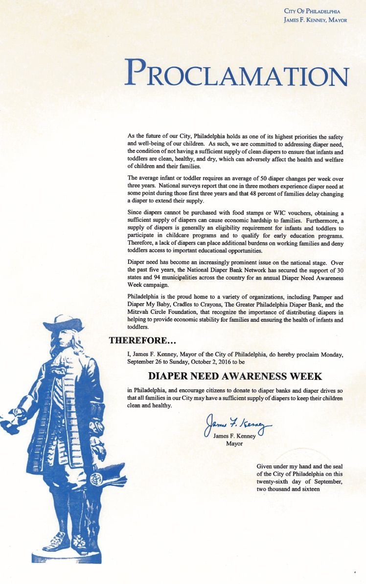 Philadelphia, PA - Mayoral proclamation recognizing Diaper Need Awareness Week (Sept. 26 - Oct. 2, 2016) #DiaperNeed www.diaperneed.org