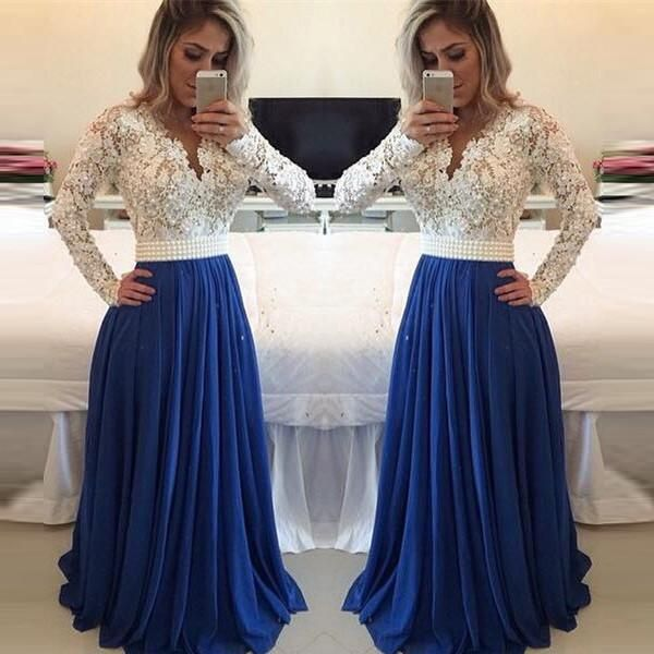 White Lace Royal Blue Long Sleeves Evening Gowns Prom Dresses LD029 ... 9081fd5f264d