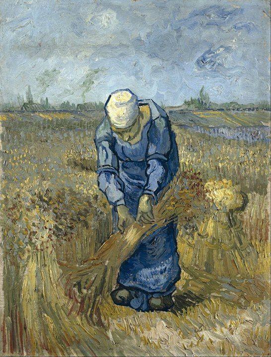 Van Gogh: The Life Art of the Day: Van Gogh, Peasant Woman Binding Sheaves (after Millet), September 1889. Oil on canvas on cardboard, 43.2 x 33.2 cm. Van Gogh Museum, Amsterdam.
