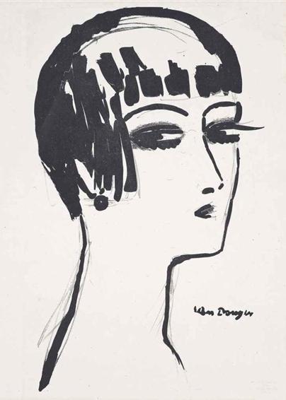 Lithograph by Kees van Dongen, 1926, Les cheveux courts.