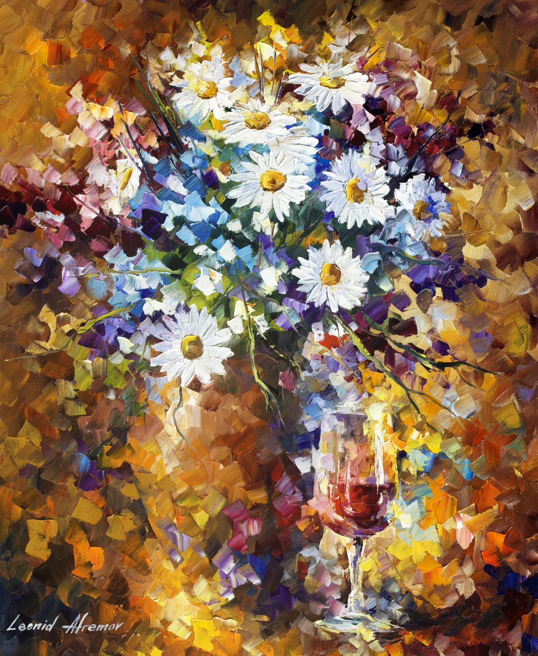WHITE FLOWERS Palette Knife Oil Painting Canvas By Leonid Afremov