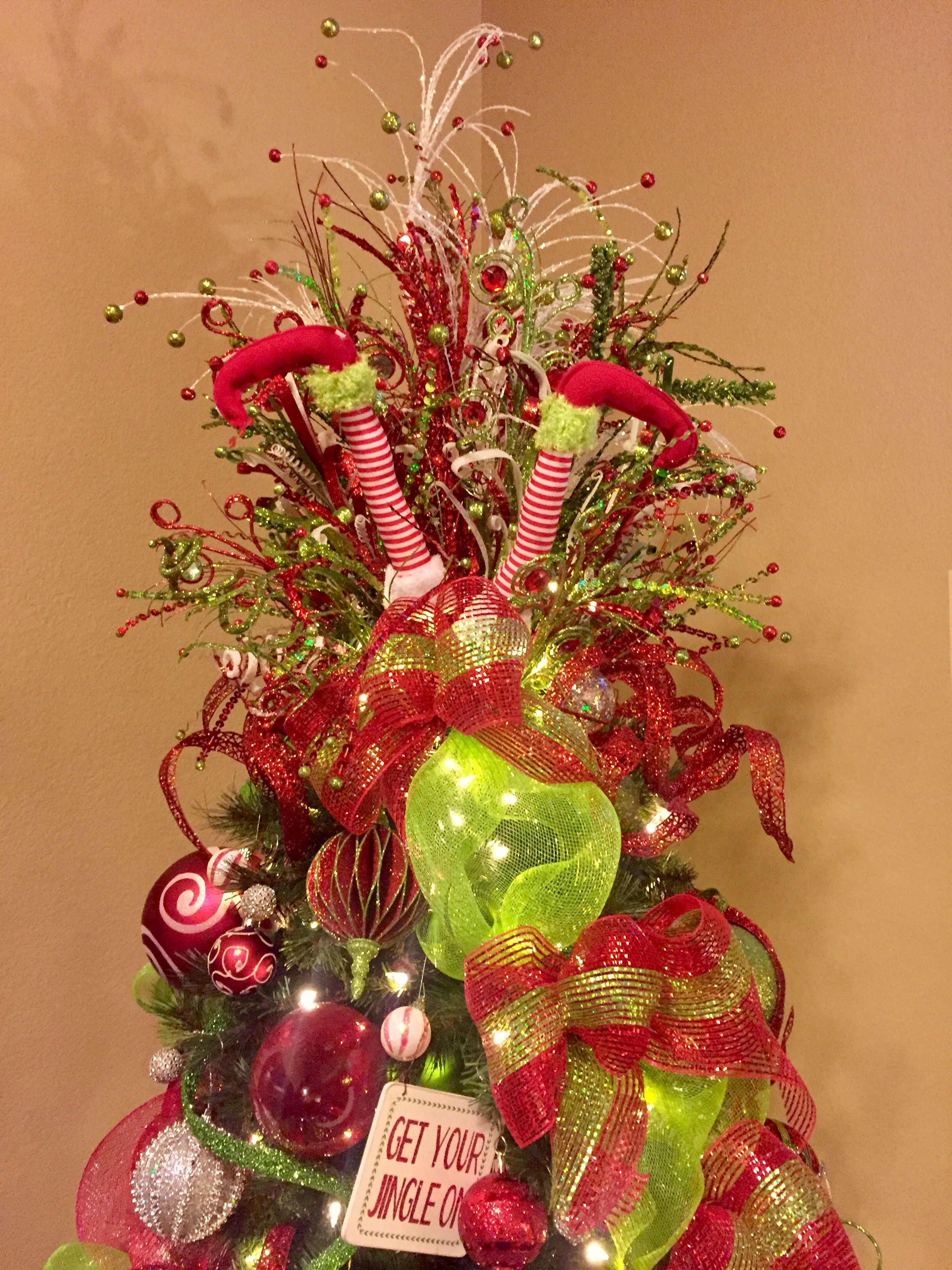 Whimsical Christmas Tree Topper Spray In Red Green And