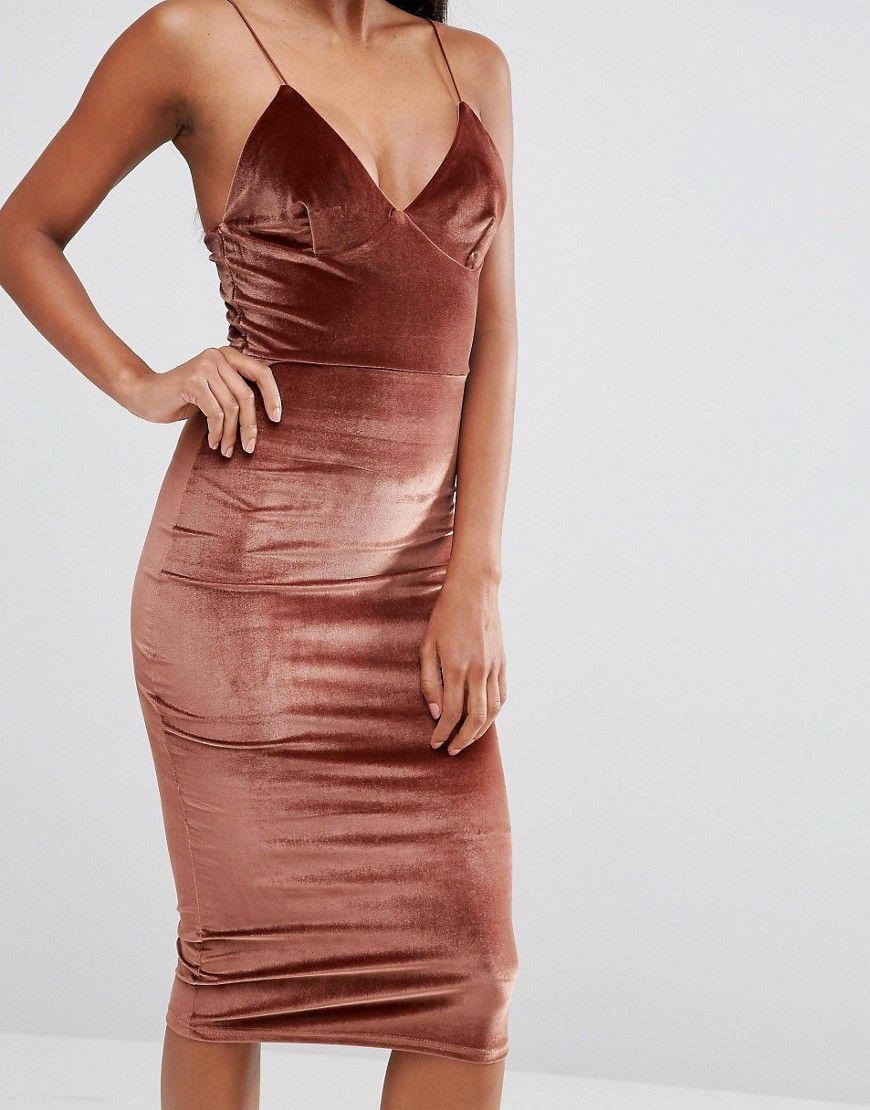 Image 3 of Club L Velvet Cami Strap Midi Dress | Fancy! | Pinterest