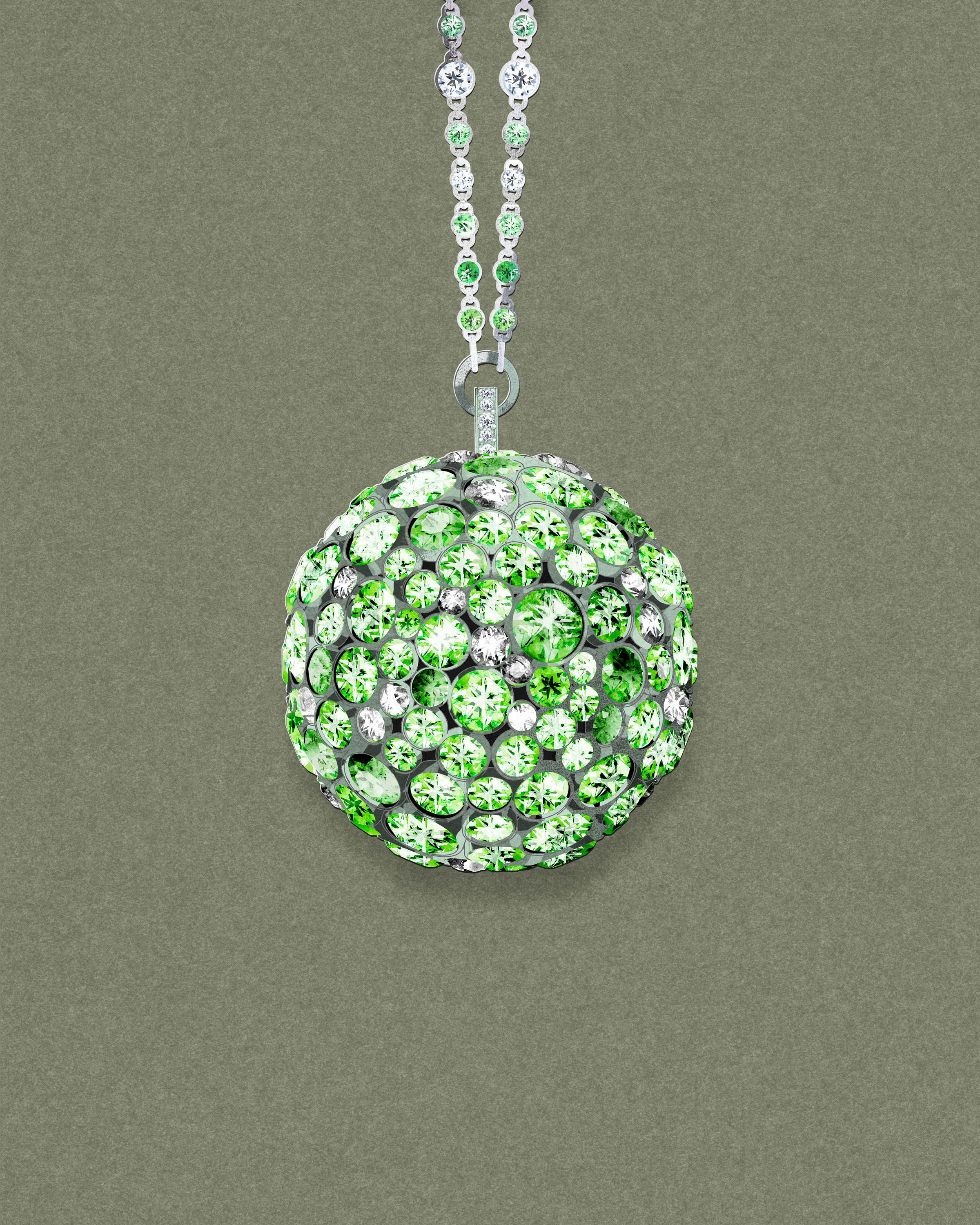 An art sketch of Tiffany's Masterpieces jewellery collection prism pendant in platinum, set with tsavorites and diamonds (POA). See more: http://www.thejewelleryeditor.com/jewellery/tiffany-masterpieces-high-jewellery-at-its-most-wearable/ #jewelry #green