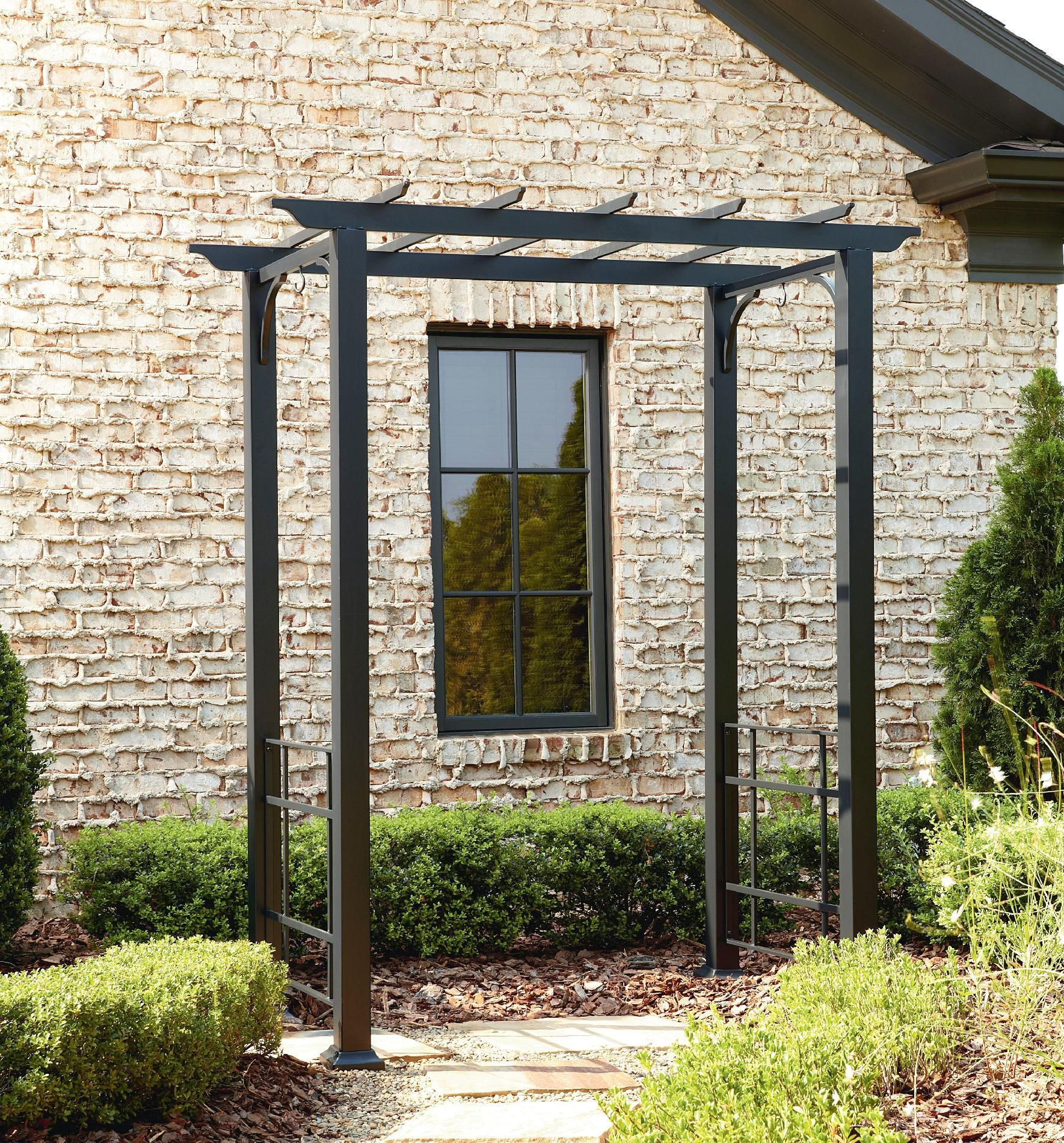 Free Standing Trellis: Metal Arbor With Flat Roof