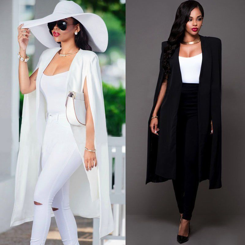 USA Women Fashion Cape Cardigan Plus Size Loose Long Cloak Trench Coat Outerwear