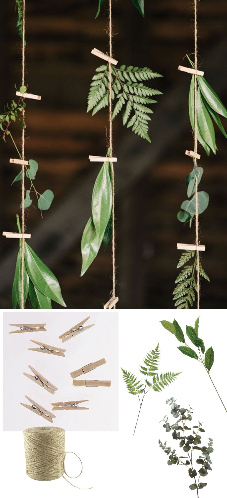 Diy greenery hanging backdrop with twine clothespins and faux