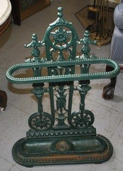 Antique Green Painted Cast Iron Ornate Umbrella Stand 145 Antique Iron Vintage House Umbrella Stand