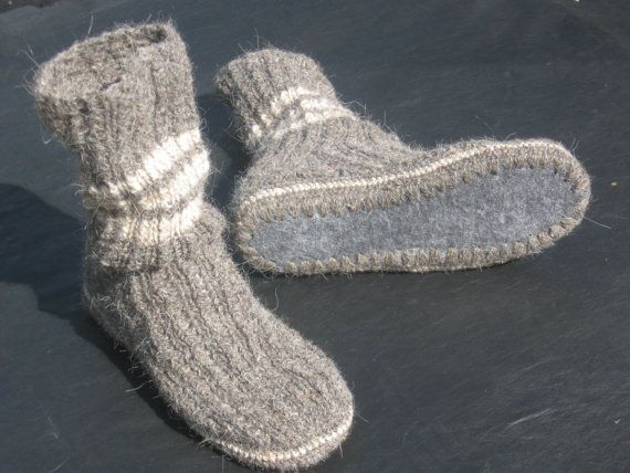 a0b954a29bd2b Mens slipper socks, Hand knitted woolen slippers with sole   Hand ...