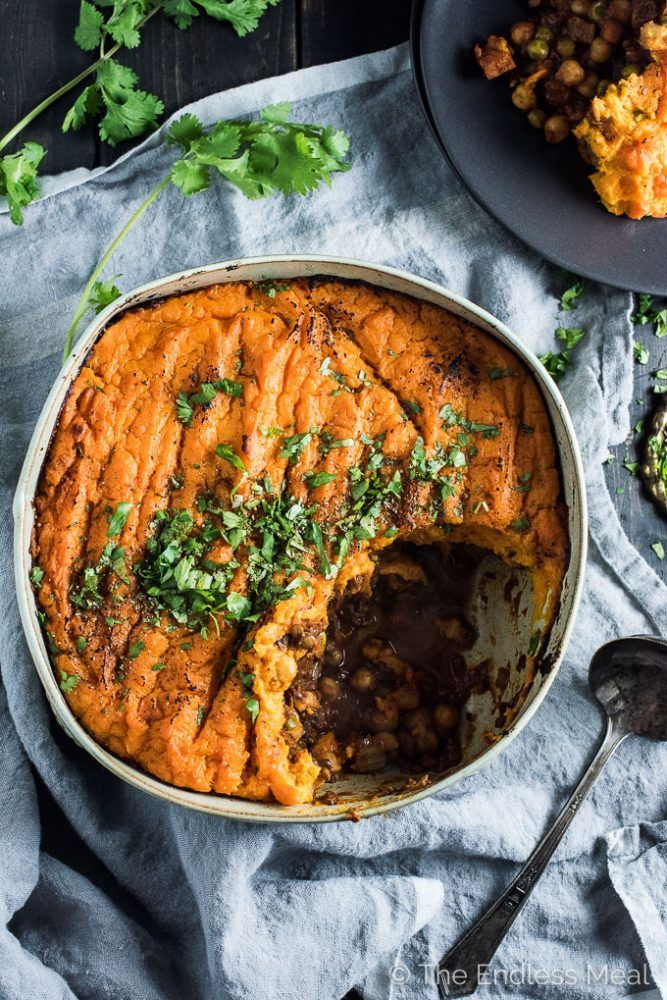 Curried Vegan Shepherd S Pie With Sweet Potato Topping Recipe Vegan Shepherds Pie Sweet Potato Toppings Vegetarian Recipes