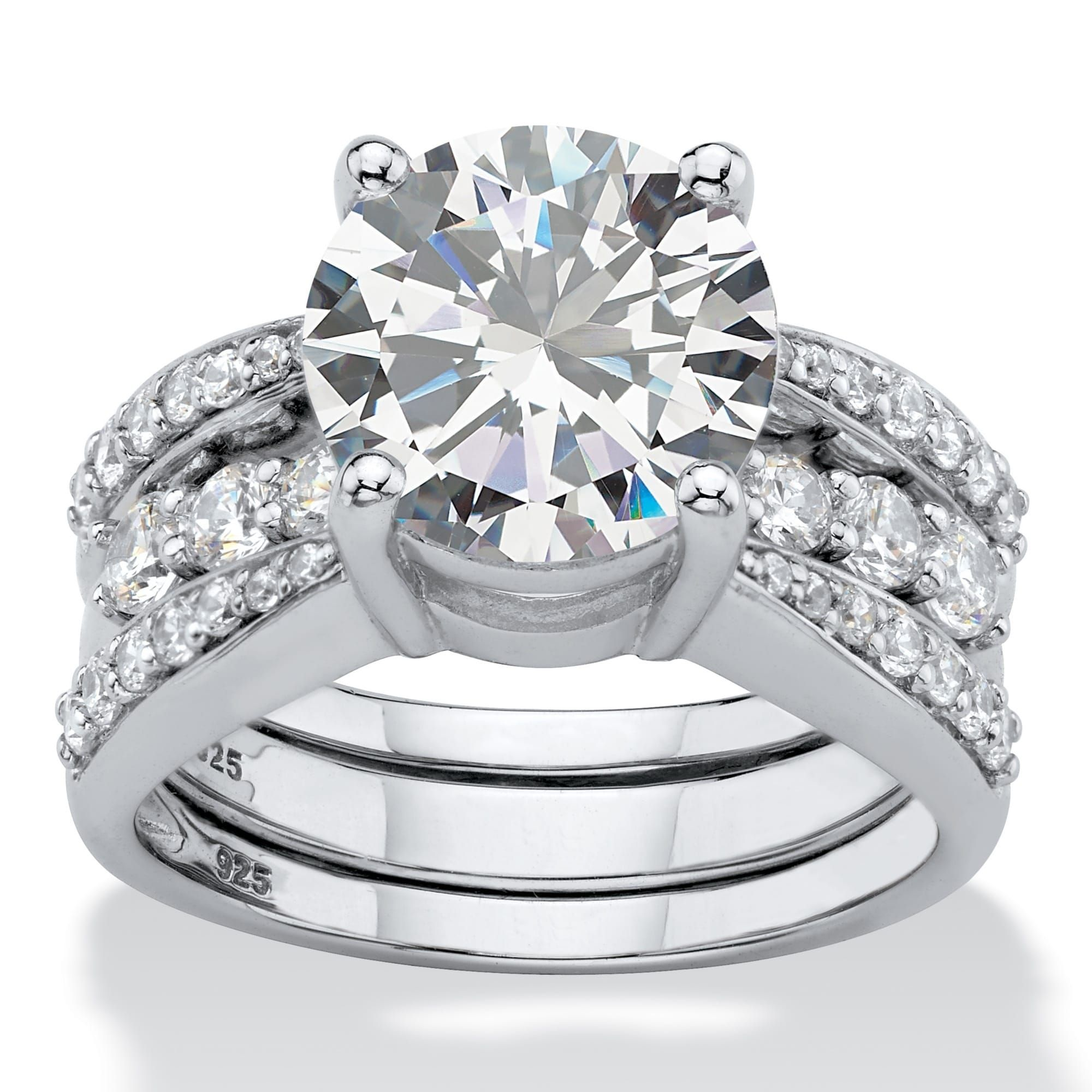 Platinum over Sterling Silver Cubic Zirconia Bridal Ring