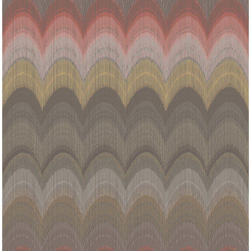 Kenneth James Azmaara August Wave Wallpaper Brown / Gray / Raspberry - 2671-22404
