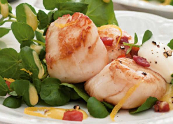 try these pan fried scallops with pancetta and watercress. Black Bedroom Furniture Sets. Home Design Ideas